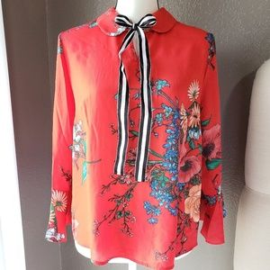 Red Floral Spring Top With Bell Sleeves